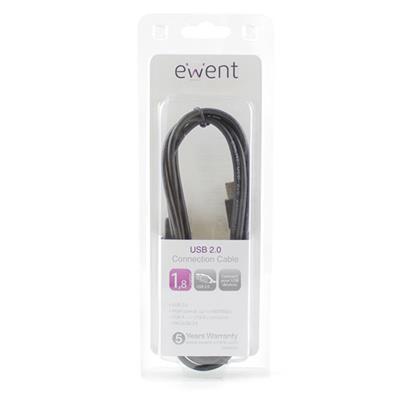 Ewent 1.8m, USB kabel 2.0 , USB A naar USB 2.0 B male