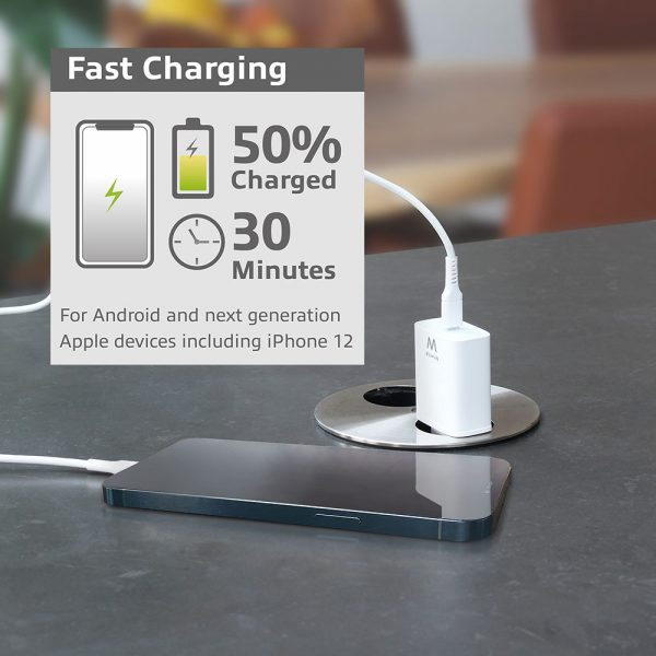 Stroomvoorziening Ewent USB-C Lader, 1 poort, 20W, Power Delivery, wit