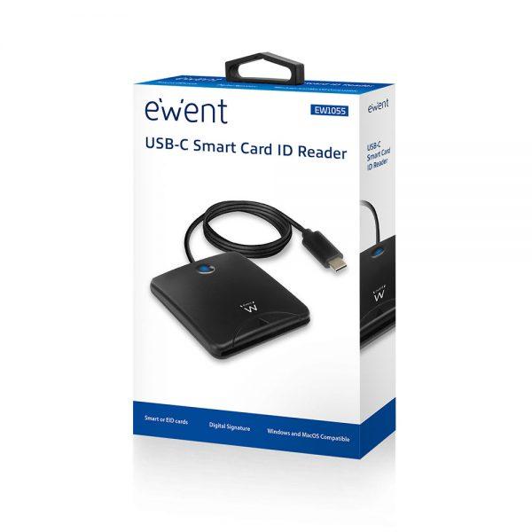 Kaartlezer EID Ewent Externe USB-C Smartcard zwart