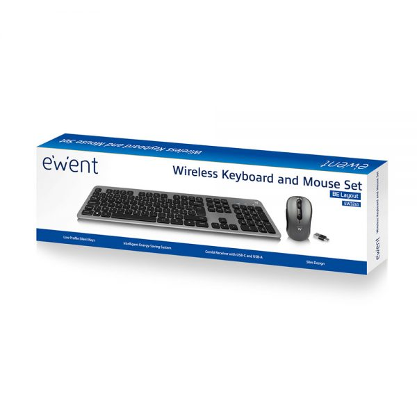 Bediening Muis/toetsenbord draadloos Ewent USB-C/USB-A, Low-profile toetsen, Azerty
