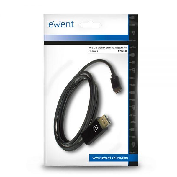 Ewent USB-C naar DisplayPort male kabel 2,0m 4K @ 60Hz