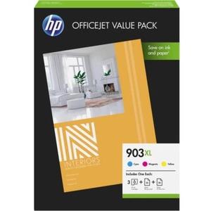 Inkt HP 903XL Original +Paper Kit 3kleuren Cyan, Yellow, Magenta 825p.