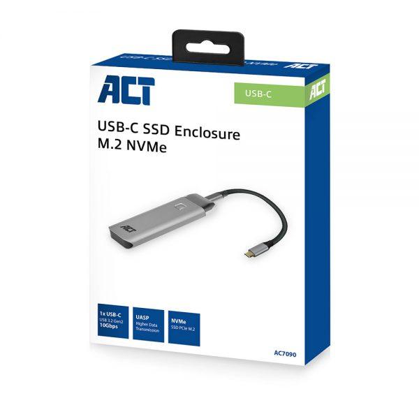 Behuizing ACT M.2 NVMe USB-C SSD Behuizing, aluminium, USB 3.2 Gen2