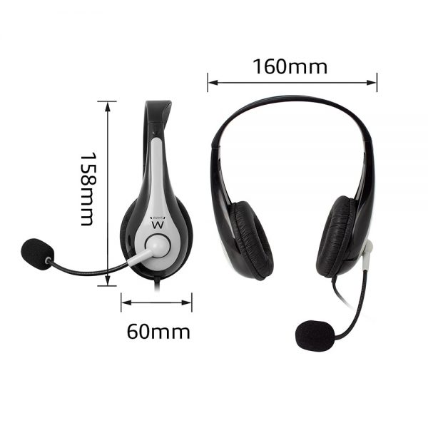 Headset Ewent, USB, 2,1m, Grijs met zwart