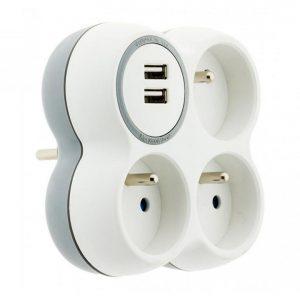 Stekkerdoos 3x16A + 2 USB poorten wit/grijs