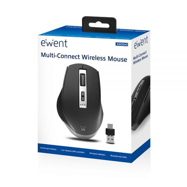 Muis Ewent Draadloze multi-connect, 600 tot 2400 dpi, zwart