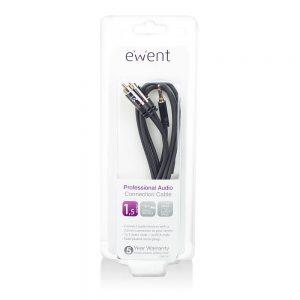 Kabel Audio Ewent 1,5 meter High Quality audio aansluitkabel 1x 3,5mm stereo jack male - 2x tulp male